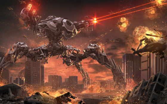 город, cyberpunk, уничтожение, robot, вертолет, разруха, огонь, мегаполис, фантастика,