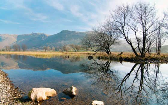 весна, горы, природа, trees, река, холмы, камни,