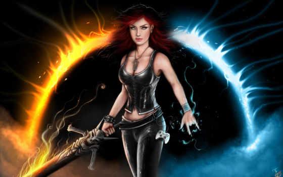 девушка, меч, пламя