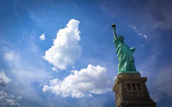 статуя, liberty, свободы, york, new, нью, usa, сша, город,