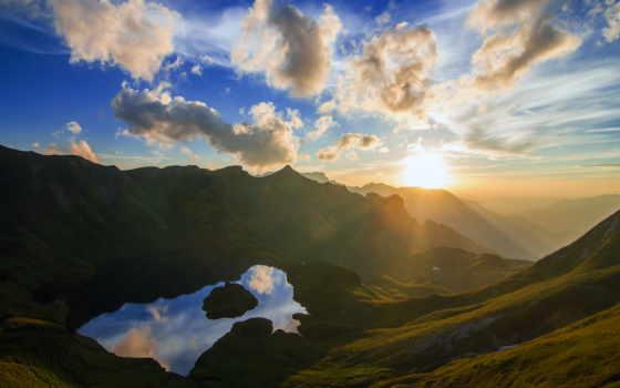 горах, рассвет, горы