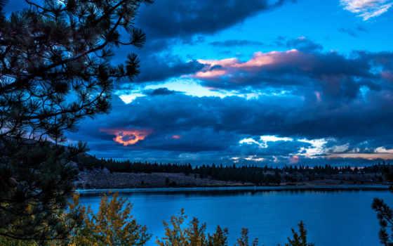 noche, tapety, paisaje, pintura, del, oblaka, тегом, clouds,