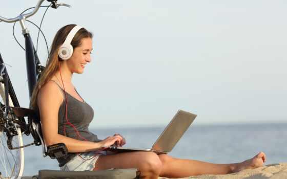studying, пляж, stock, девушка, ноутбук, teen, leaning, free, изучение, велосипед,
