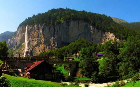 город, swiss, гора, швейцария, lauterbrunnen, берн, мост, lauterbrunnit, близко, house, rock