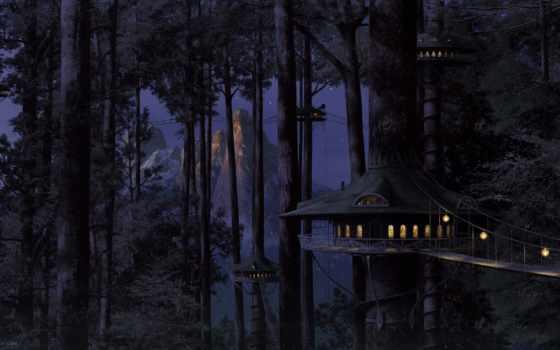 лес, домики