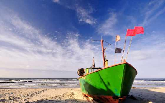 море, лодка, берег, песок, волны, пляж, картинку, картинка, мыши, кнопкой, выберите, boot, правой,