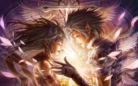 art, девушка, парень, крылья, эльфийка, эльф, fantasy, chrisnfy,