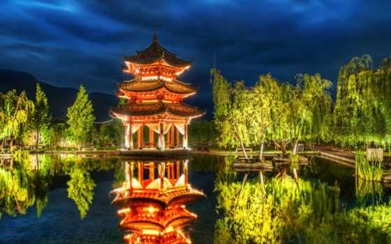 китаянка, пагода, озеро, пагоды, природа, building, trees, lijiang,