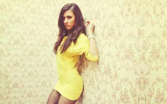 девушка, платье, yellow