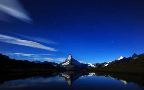 маттерхорн, отражение, полночь, швейцария, ночь, альпы,