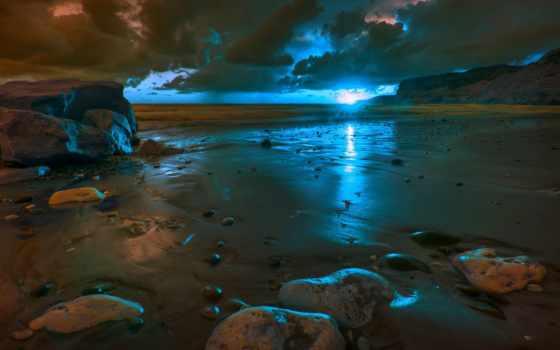 закат, пляж, песок, природа, море, oblaka, небо, пляже, закате, waves, landscape,