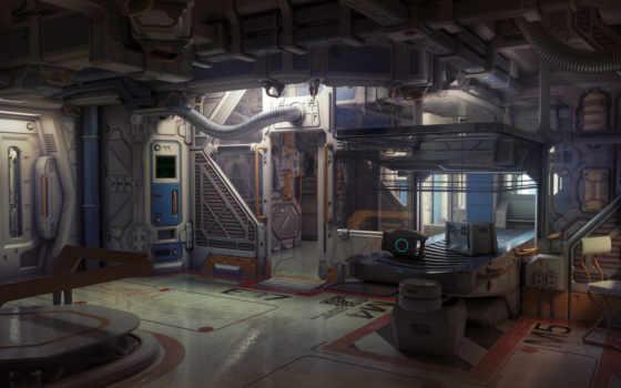 космос, будущее, futuristic, spaceship, интерьер, ржавчина, качать, корабль, cosmic, artwork, art,