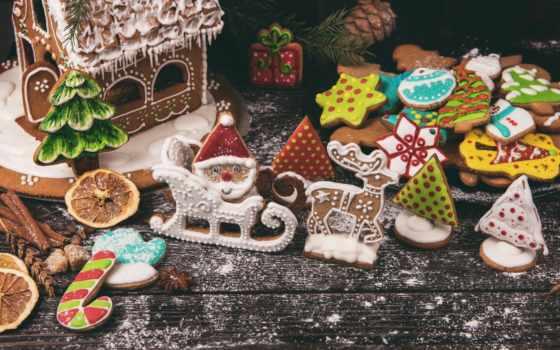 взгляд, świąteczne, tapeta, ozdoby, tapety, pierniczki, dekoracja, lukrem, pierniki, доска