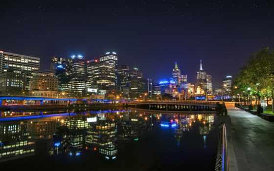 ночь, панорамы, здания