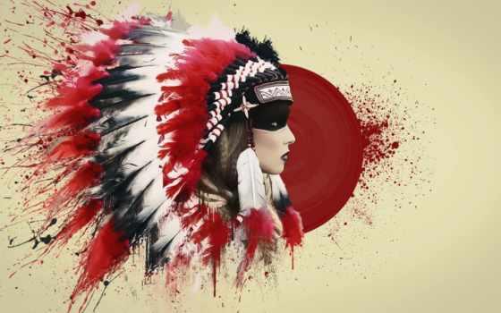 indian, перья, мужчины, кровь, девушка, лицо, мужчина, лошадь, перьев, роуч,