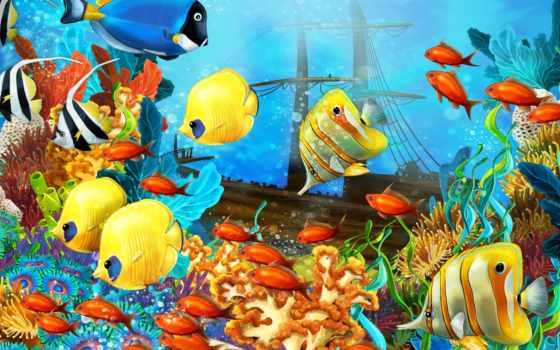 морское, bottom, рыбы