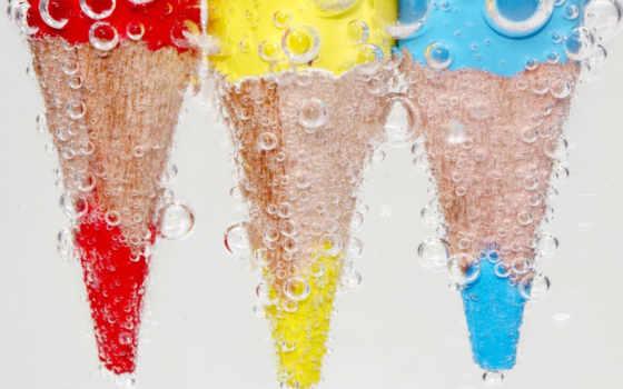 карандаши, цветные, рисунки,