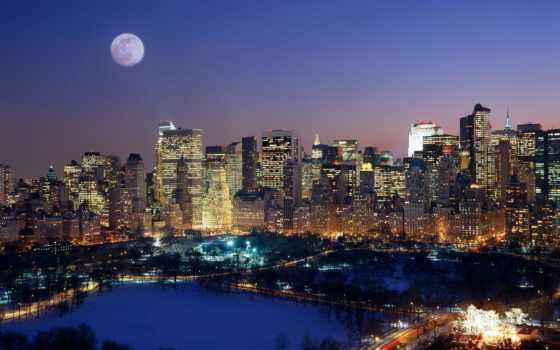 нью, взгляд, york, окна, город, сверху, ночь, new, ночью, pictures,