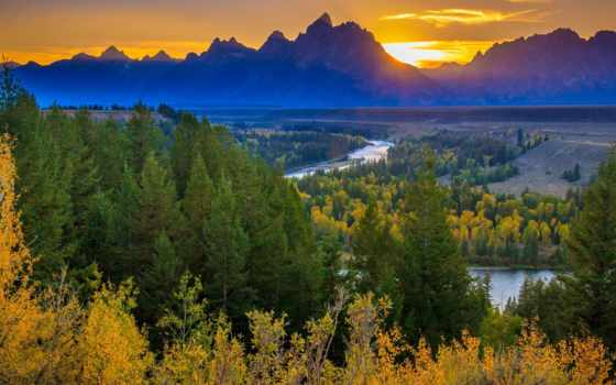 national, teton, park, grand, река, snake, лес, overlook, закат, wyoming,