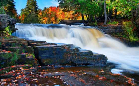 водопад, река, лес, осень, android, photos,