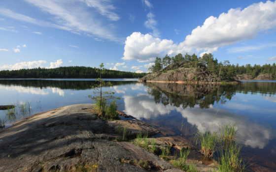 природы, река, остров, скалистый, прекрасными, берег, уголками, заставки, незабываемые, скалы,