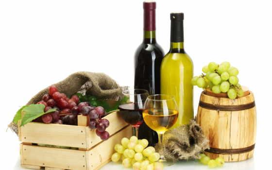 вино, бокалы, напитки, еда, виноград, box, натюрморт, бутылка,