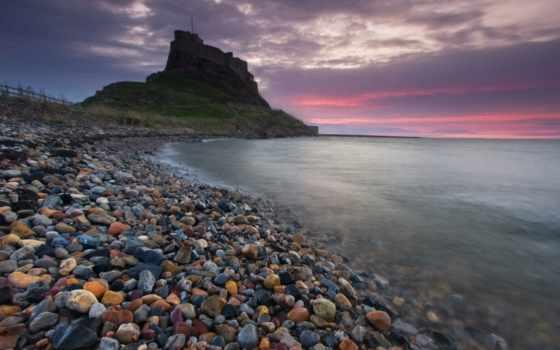 море, пляж, галька, закат, surf, pebbles, colored, sun,
