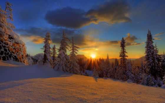 закат, winter, снег, лес, oblaka, природа, красавица, елки, небо,