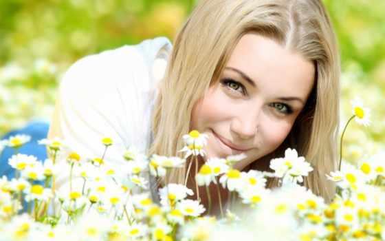 девушка, лицо, улыбка, ромашки, голубоглазая, поле, настроение,