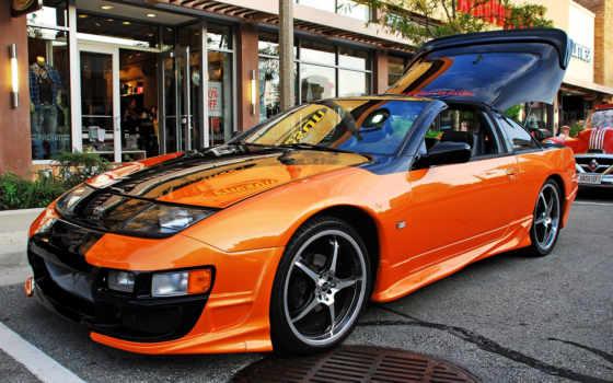 nissan, оранжевый, фон, black,