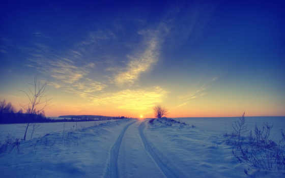 winter, снег, sun, красивые, природа, предвкушении, картинка, небо, поле, landscape, рассвет,
