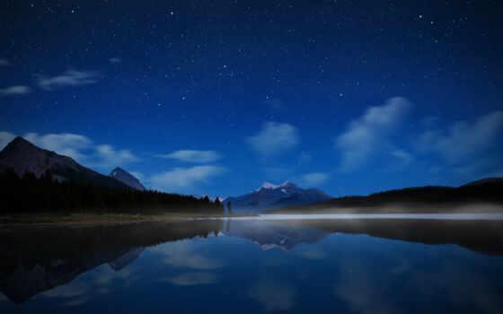 небо, звезды, горы, озеро, парк, вода, джаспер, канада, ночь, wallpaper, hd, ipad,