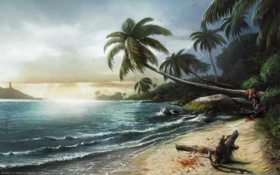 море, dead, пальмы, island, пейзаж, побережье, игры, best,