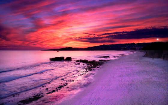 закат, розовый, море