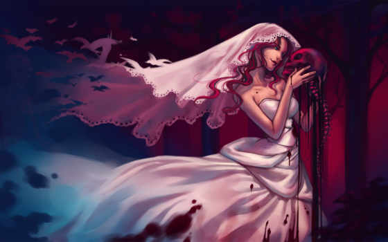 девушка, art, кровь, fata, невеста, кости, череп, qinni,