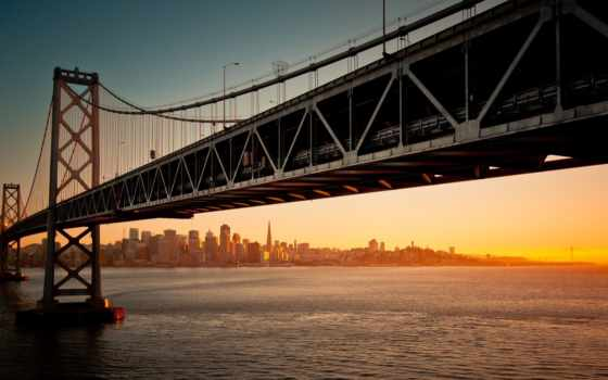 мост, san, francisco, bay, oakland,