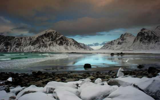 iceland, камни, море, которых, берег, oblaka, ocean, всех, тег, есть,