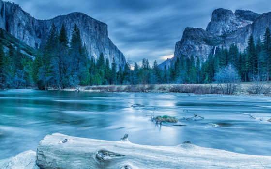 yosemite, park, national, winter, река, пейзажи -, usa, nevada, sierra, лес, природа,