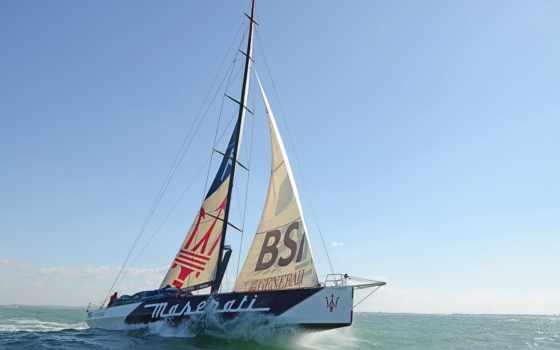 sailboat, яхта, waves, небо, широкоформатные, море,