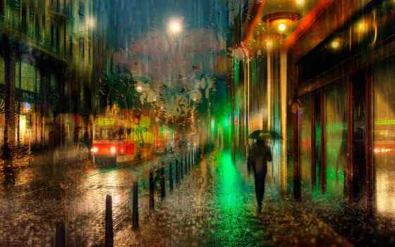 дождь, ночь, осень, город, прага, трамвай, улица,
