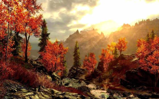 картинка, осень, горы, лес, красивая, живопись,