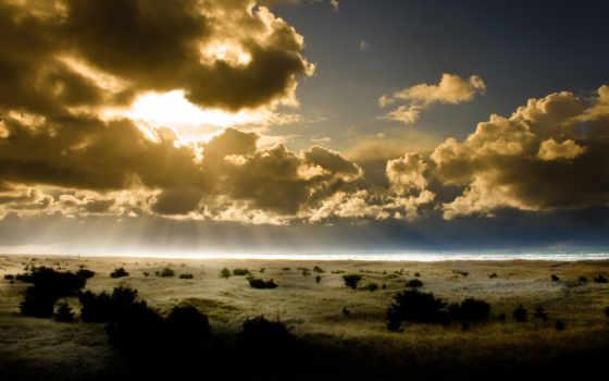 oblaka, рассвет, небо, картинка, rising, море, солнца, горизонт, облако, sun,
