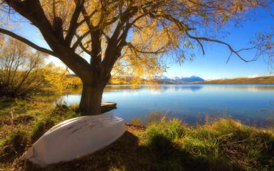 озеро, осень, лодка