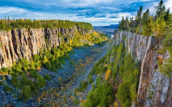 каньон, ouimet, онтарио, канада, красивые, ущелье, cliffs, информация,