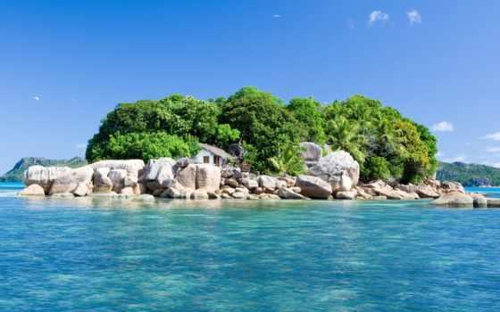 остров, ocean, природа, landscape, house, фартука, океане,