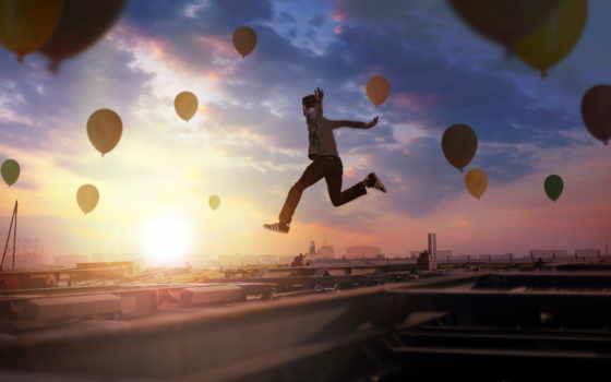 шары, со, fone, мужчина, прыжке, городом, воздушных, воздушные, летающих, шаров, miniature,