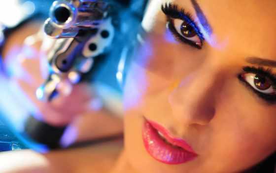 девушка, devushki, свет, красивые, взгляд, gungirl, оружием, фотосток, часть, фото, лицо,