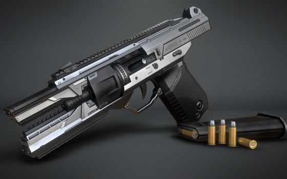 sci, handgun, модель, game, ready, marcelo, prado, zbrush, includes, сеточка,
