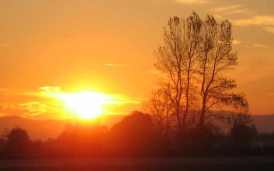 sun, закат, high, вечер, утро, rising, оранжевый