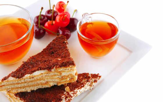 чая, пирожные, напиток, чашки, вишни, поднос,